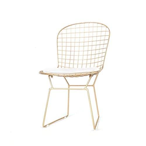 qiaojunjun nordic creatif ajoure chaise en fil de fer barbele personnalite simple fer forge restaurant restaurant chaise de bureau ordinateur dore