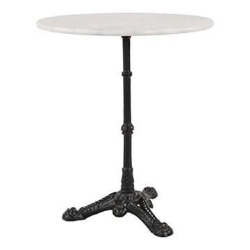 GM-Milte Table de jardin Table bistro en marbre Blanc, Pied en fonte Ø 60 cm