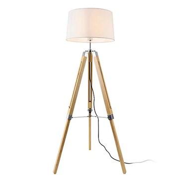 lux.pro Lampadaire Design Lampe à Pied Trépied avec Pieds en Bois et Métal Abat-Jour en Tissu E27 Hauteur 145 cm Bois Clair Chrome Blanc