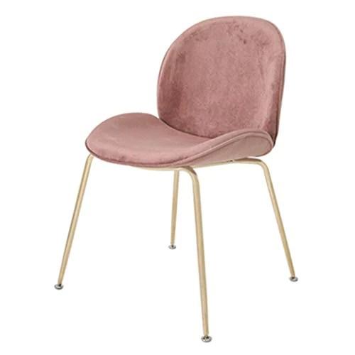 chaise de salle a manger en velours tabouret de coiffeuse nordique avec assise et dossier rembourres chaises de loisirs avec pieds en metal dore