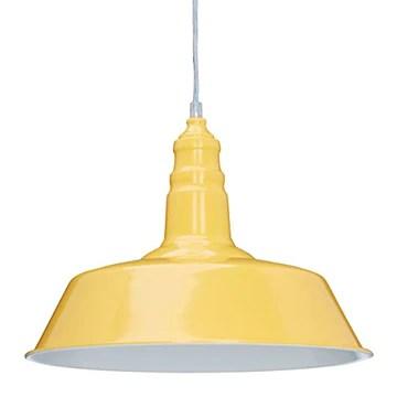Relaxdays Suspension luminaire abat-jour en métal avec couleur tendance HxlxP: 116 x 36 x 36 cm lampe style industriel hauteur réglable, jaune