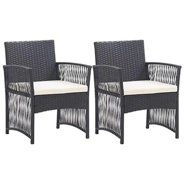 vidaXL 2X Fauteuils de Jardin avec Coussins Chaise de Patio Fauteuil de Terrasse Chaise de Jardin Fauteuil d'Extérieur Noir Résine Tressée