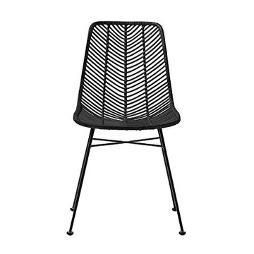Bloomingville Chaise Design la Lot de 2 chaises en rotin Noir Lena Chair de Couleur Rotin Noir/en Rotin - Osier - Acier/Désigné