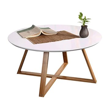 YNLRY Table Ronde Thé Table Table Basse Table Basse Salon Chambre Table D'appoint Table Ronde, Jambes en Bambou + Cut Surface Design (Color : White, Size : 80 * 80 * 44CM)