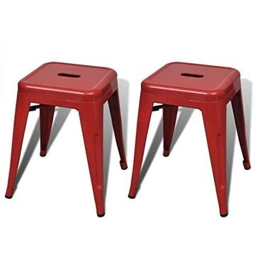 vidaXL Lot de 2 Petits tabourets en métal empilables Rouges