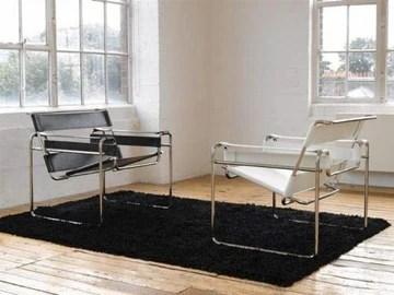 Fauteuil Wassily Blanc ou Noir Marcel Breuer Cuir Acier Cuir véritable Design