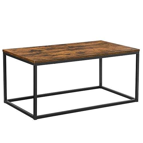 VASAGLE Table Basse pour Salon, avec Cadre en Acier, Facile à Assembler, 100 x 55 x 45 cm, Style Industriel, Marron Rustique et Noir LCT052B01