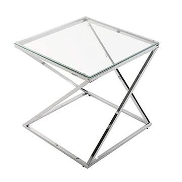 Versa Table Basse en Verre Table d'Appoint Auxiliaire pour Le Salon la Chambre ou la Cuisine Table de Chevet Dimensions Carrée (H x l x L) 51 x 51 x 51 cm Couleur argentée avec Finition chromée.