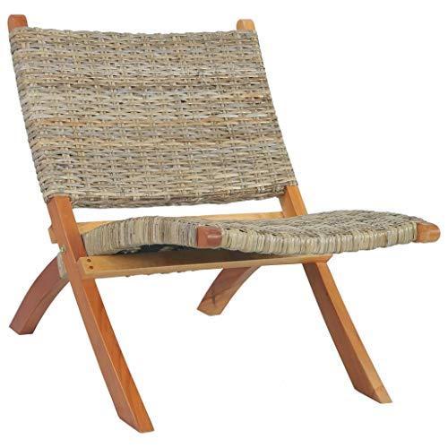 FAMIROSA Chaise de Relaxation Rotin Naturel kubu et Bois d'acajou