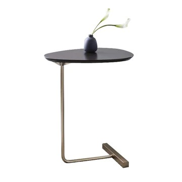 Tables Basses Table D'appoint Table d'angle en Fer Forgé Canapé Table D'appoint Table D'étude Simple Salon Petite Table Basse (Color : Black, Size : 40 * 30 * 60cm)