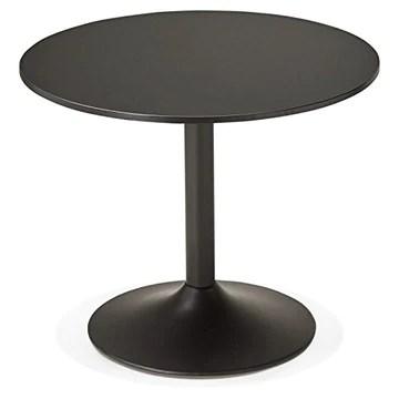 MK Table de Repas ou Bureau Ronde Design NILS en Bois et métal Peint (Ø 90 cm) (Noir)