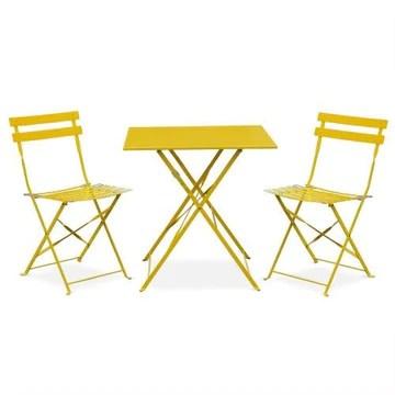 Salon de Jardin bistrot Pliable - Emilia carré Jaune - Table 70x70cm avec Deux chaises Pliantes, Acier thermolaqué