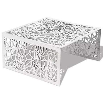 vidaXL Table Basse Table de Salon Aluminium Design géométrique ajouré Argent
