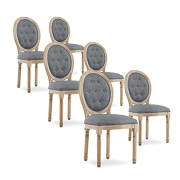 INTENSEDECO Lot de 6 chaises médaillon capitonnées Louis XVI Tissu Gris