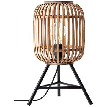 Lampe de table, 1 x E27 max. 40 W - Métal/rotin - Marron clair