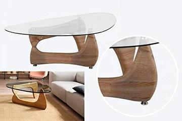 Table Basse de Style Noguchi avec Plateau en Verre Transparent - Table Basse Triangulaire - Style médiator de Guitare - Trépied - Effet Bois Naturel - Table d'appoint - Table Basse.