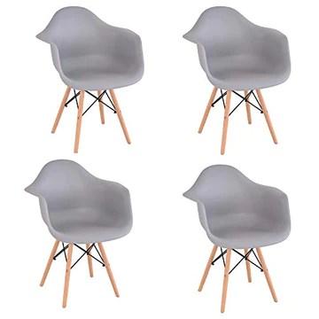 Comfortableplus Lot de 4 Chaise de Salle à Manger, Fauteuil de Chaise latérale Design rétro avec Jambe de Bois de hêtre Massif (Gris)