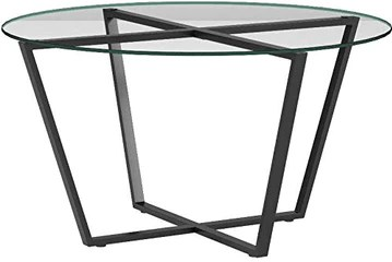 Mango Steam Table Basse Rond en Verre, Dessus Clair et Base Noire