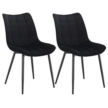 WOLTU BH142sz-2 Chaise de Salle à Manger Lot de 2 Chaise de Cuisine Assise rembourrée en Velours Pieds en métal Stable,Noir