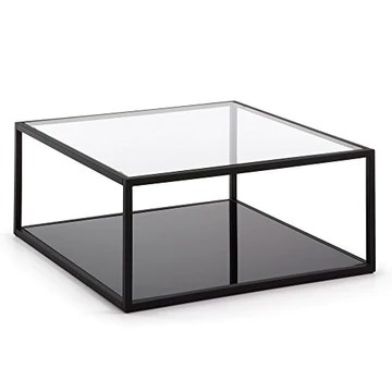 LF - Table basse Grennhill carré 80 x 80 cm métal et verre