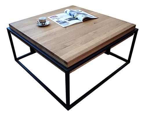 Lumarc GORIZIA Table de salon en bois massif de chêne naturel au design moderne industriel minimaliste, chêne clair, carré, 75 x 75 x 42 cm