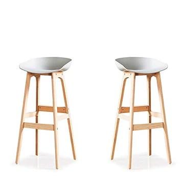Designetsamaison Lot de 2 chaises Hautes Grise - Bera