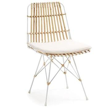 Kave Home - Chaise en rotin Ainisa avec Structure en Acier