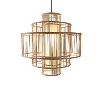Lustre Bambou Tissé Lustre Lampe Restaurant Boutique Café Bar Tea Room Lampe Bamboo Chandelier E27 (50 * 50cm)