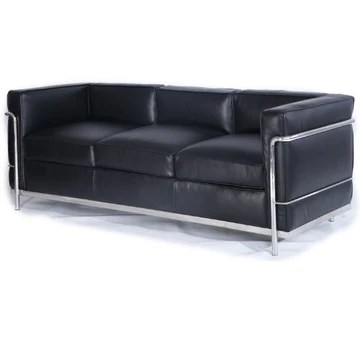Kardiel Le Corbusier Style LC2 Canapé 3 places en cuir aniline Noir