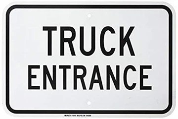 Truck Entrance Panneau d'avertissement en métal avec Inscription en Anglais « Caution » pour propriété 20 x 30 cm Noir sur Blanc