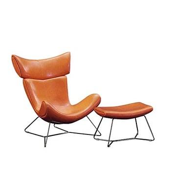 Intriqués Lounge Chaises High Grade en Cuir Fauteuil inclinable à Pied Tabouret Ottoman Salon, Chambre, Club, Bureau Fauteuil Lounge (Couleur: Jaune, Taille: Taille Libre)