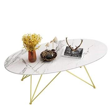 Y-Leah Table basse Nordique Ovale en marbre, Cadre géométrique Minimaliste en Fer forgé doré, ajoute à la beauté du Salon