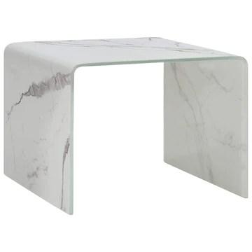 Tidyard Table Basse en Verre Trempé avec Un Aspect de Marbre Unique Style Moderne Blanc 50 x 50 x 45 cm