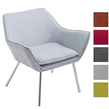 CLP Fauteuil Lounge Design Caracas Tissu I Chaise Confortable Assise et Dossier rembourrés Accoudoir I Fauteuil de Salon Piètement en Métal Gris