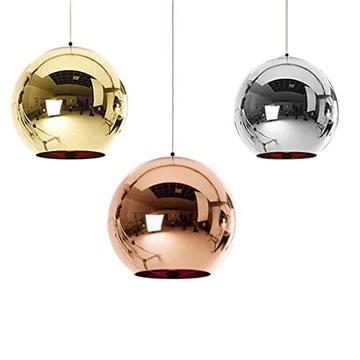Industrial miroir moderne verre boule luminaire, miroir ajustable, Pendentif boule Ligh, ombre de lampe de plafond pour cuisine, salle à manger, Bar (Gold, 25cm)