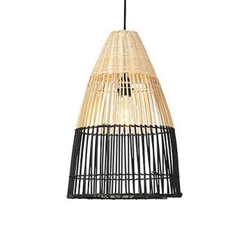 QAZQA Art Deco Suspension/Lustre/Luminaire/Lumiere/Éclairage art déco en bambou et nuance noire - Bamboo Bamboo Noir,Marron Rond E27 Max. 1 x 40 Watt/intérieur/Salon/Cuisine