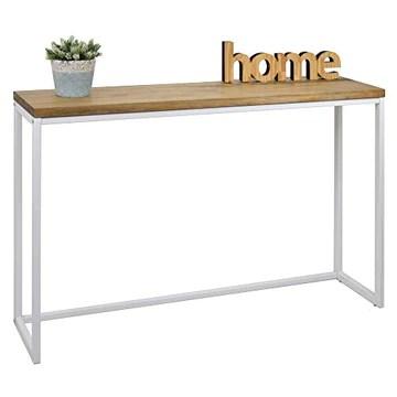 Table d'entree Console iCub Big Wood industriel vintage bois 3cm et métal Blanc 100x30cm. 80cm haute
