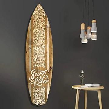 Vertikale Décoration Murale Planche de Surf Effet Bois Motif Polynésien Blanc Surf Rider 150 x 40 cm Format Horizontal