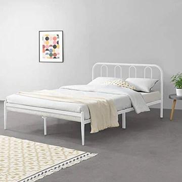 Cadre de Lit en Métal Solide Sommier à Lattes Robuste Lit Double Acier Laqué 160 x 200 cm Blanc Mat