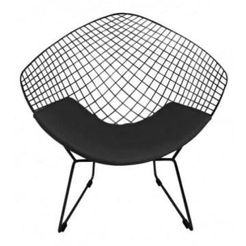 ElleDesign Fauteuil Bertoia Diamond Structure Vernie Noire Total Black Coussin Noir