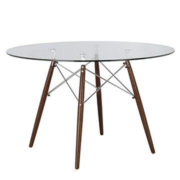 SKLUM Table Brich Scand Ø120 Chromé/Bois Foncé - (Plus de Couleurs)