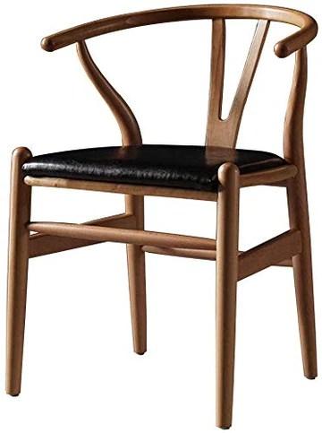 QTQZDD Chaises de Salle à Manger Ménage Demi-Fauteuil Chaises de Salle de Bain Chaises en Similicuir au Milieu du siècle Salle à Manger Chaises en Bois (47x49x78cm)