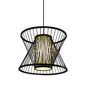 HIL Bambou Art Rotin Cage Lustre En Bambou, Jardin Moderne Créatif Restaurant Salle De Thé Couloir Allée Lampe De Bambou Bambou Plafond Lumière Café,50 * 40CM