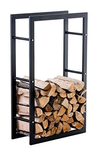 CLP Étagère Porte Bois De Cheminée KERI V3 I Porte-Bûches Moderne en Métal Noir Mat 25 x 60 x 100 cm