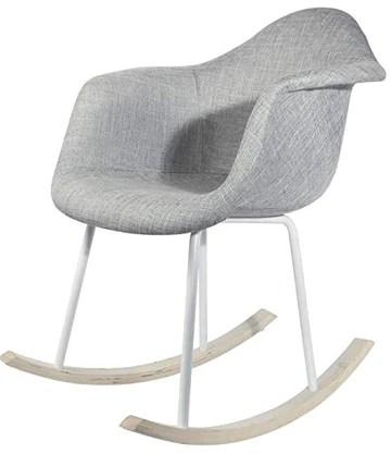 PEGANE Chaise à Bascule en Tissu et métal Coloris Gris - Dim : 62 x 68 x 83 cm