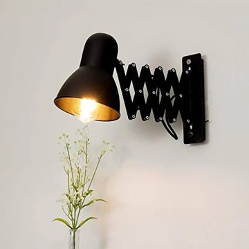 Lampe murale à enfiler Noir uni Métal E27 style loft Liseuse Lampe de Lecture Applique murale Bureau