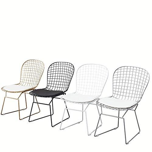 Chaise Nordique ajourée Chaise en Treillis métallique Dossier en Fer forgé créatif Chaise Simple Coiffeuse Banquet Occasionnel dinant la Chaise hôtel Salle à Manger (Color : White)
