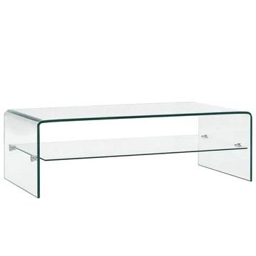 Tidyard Table Basse Verre Trempé | Table Basse Salon 98 x 45 x 31 cm avec 1 Étagère
