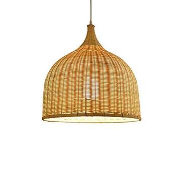LAMP Lustre Vintage Moderne De Rotin Industrielle Romantique LED Plafonnier Luminaire Lustre Tissé à La Main Brown -60×60