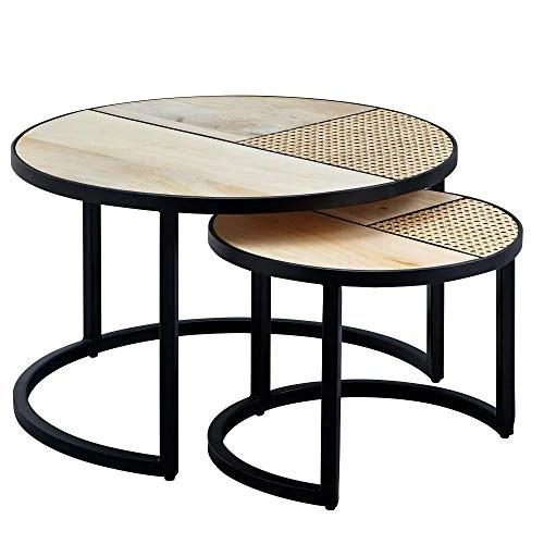 FineBuy Tables Gigogne Ensemble Deux pièces Bois Massif/Métal Table de Salon | Table d'appoint Ronde Style Industrielle | Meubles en Bois Massif Table Basse